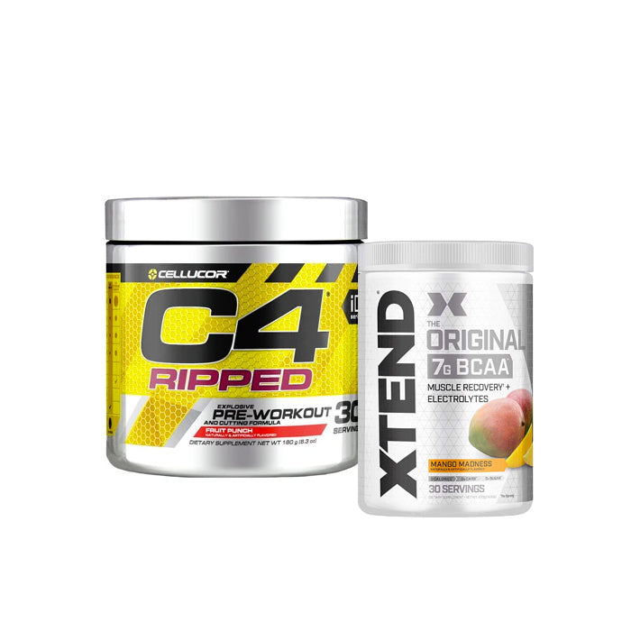 C4 Ripped Explosive Pre-Workout 30svg + Xtend Original 7g BCAA 30 Servings Combo Stack