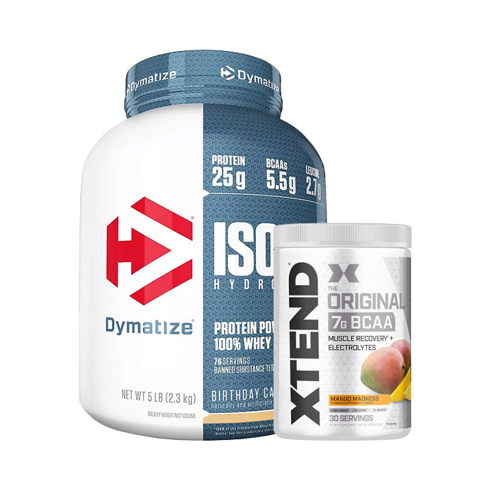 Dymatize Nutrition, ISO100 Hydrolyzed, 100% Whey Protein Isolate, 5 lbs + Xtend Original 7g BCAA 30 Servings Combo Stack