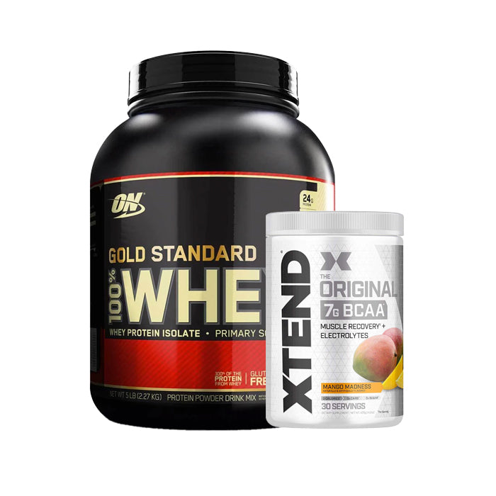 Optimum Nutrition 100% Whey 5LB + Xtend Original 7g BCAA 30 Servings - Muscle Recovery Combo Stack