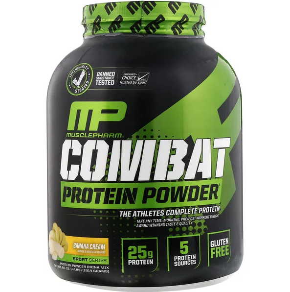 MusclePharm, Combat Protein Powder, Banana Cream, 4 lbs