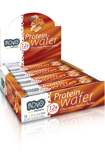 Novo Protein Wafer Bar 38Gm Cho Peanut Butter [ 12 Bars)