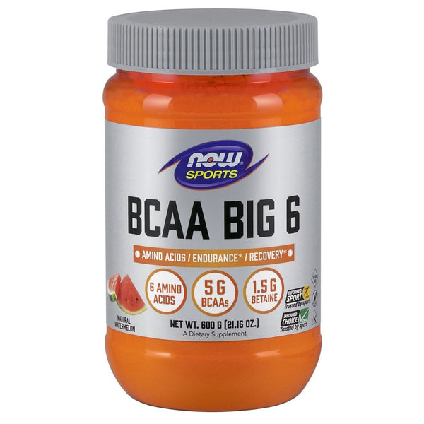 Now Sports Nutrition, Bcaa Big 6, Watermelon Flavor, 600 Grams