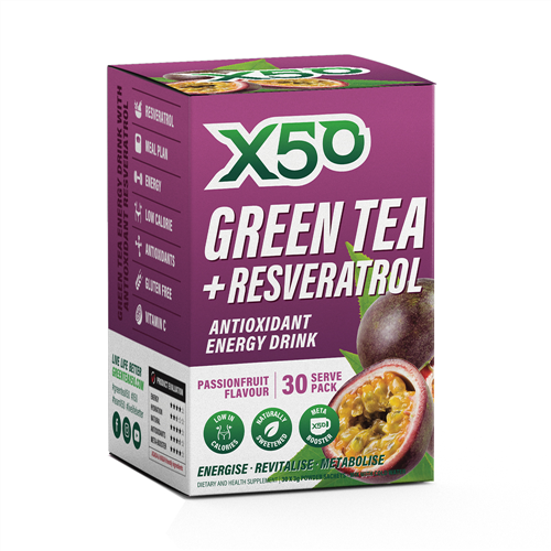 X50 Green Tea + Resveratrol Passionfruit, 30 Servings