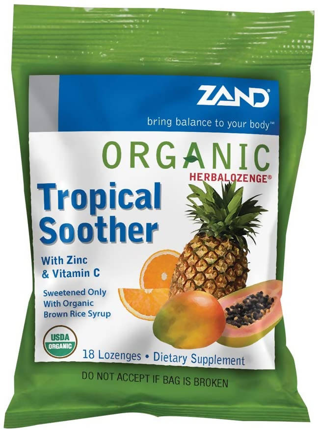ZAND - ORGANIC HERBALOZENGES; TROPICAL SOOTHER; 18 LOZENGES