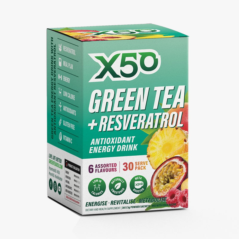 Green Tea+Resveratrol  X50 Assorted Flavours 30 Serving