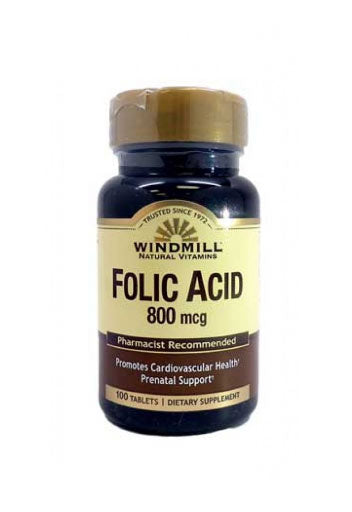 Windmill Folic Acid 800 Mcg 100 Caps,Dietary Supplement