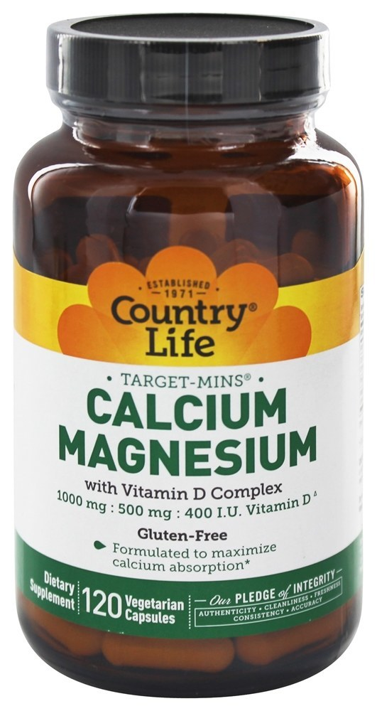 Country Life Target-Mins Calcium Magnesium with Vitamin D Complex 1,000mg/500mg/400 I.U. - 120 Vegan Capsules