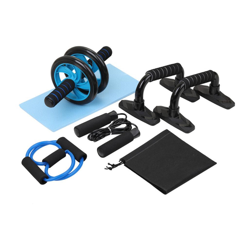 Workout Equipments 5 In 1 AB Roller Wheel Home Gym Weights Abdominal Muscle Trainer Jumping Rope Parallel Bars Workout Bands