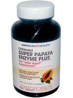 AMERICAN HEALTH - SUPER PAPAYA ENZYME PLUS , 180 CHEWABLE TABLETS