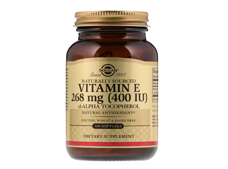 Solgar, Naturally Sourced Vitamin E, 400 Iu,268 Mg, 100 Softgels.