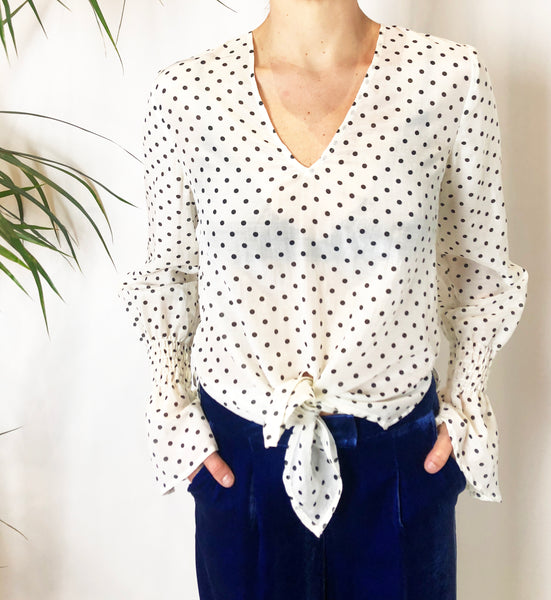 Penny Lane Ivory Silk Spot Flared Sleeve Top