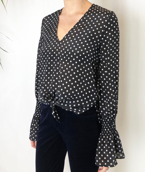 Penny Lane Black Silk Spot Flared Sleeve Top