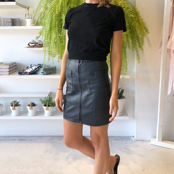 LOVE IS A LONG ROAD LEATHER SKIRT