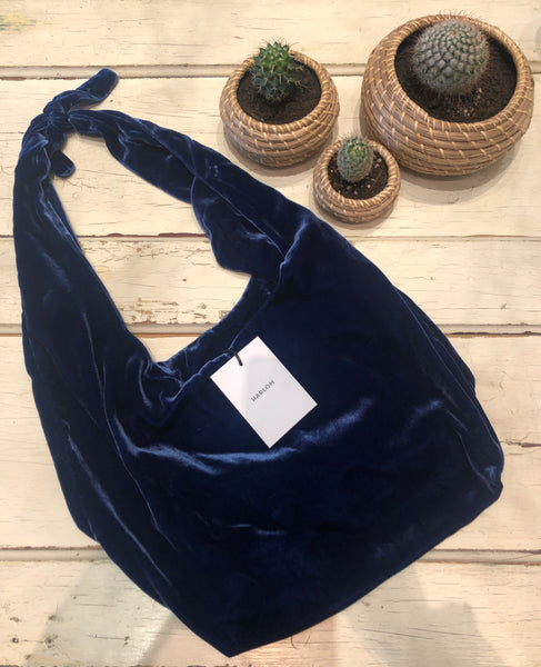 Wild Flower Blues Silk Velvet Oversized Tote