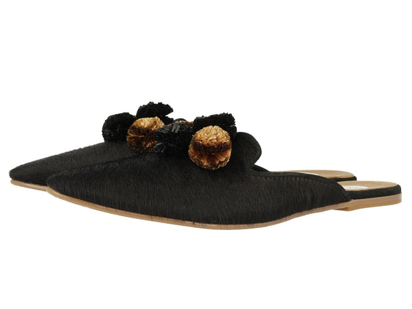 Gioseppo Talal Black Loafer With Metallic Pom Pom