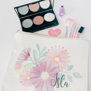 Little Lily Shop Small Fall Collection Pretend Makeup with Lilac Floral Lux Makeup Bag