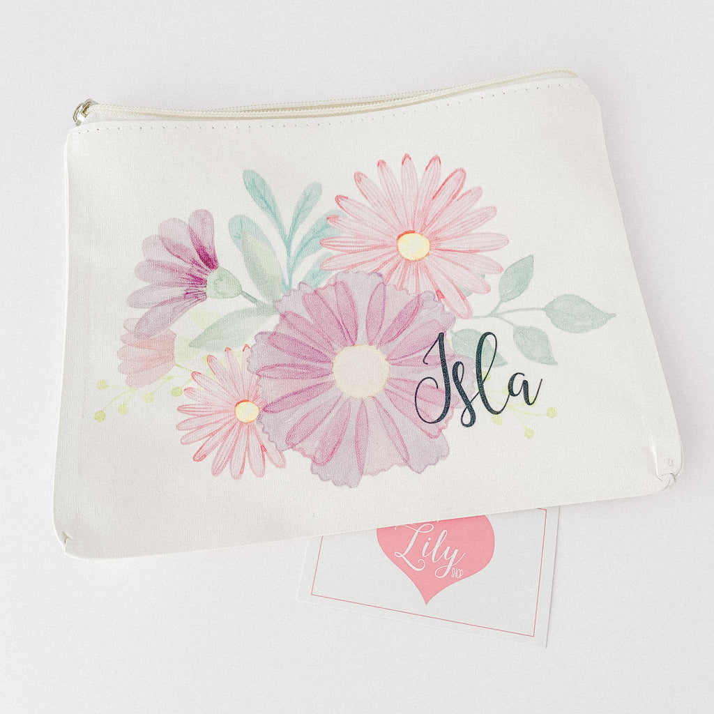 Little Lily Shop Personalized Flower Makeup Bag