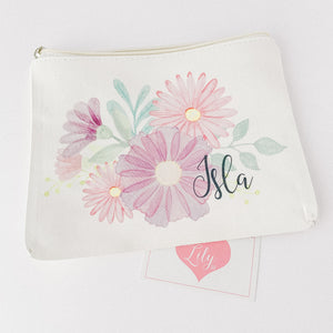 Little Lily Shop Miss Sunshine Collection Pretend Makeup with Lilac Floral Lux Makeup Bag