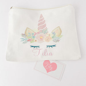 Little Lily Shop Miss Sunshine Collection Pretend Makeup with Pink Horn Unicorn Lux Makeup Bag