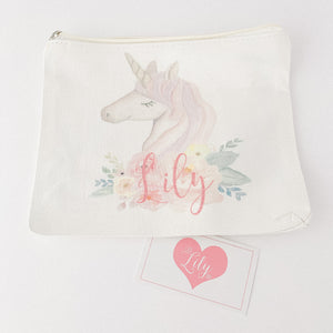 Little Lily Shop Miss Sunshine Collection Pretend Makeup with Side Profile Unicorn Lux Makeup Bag