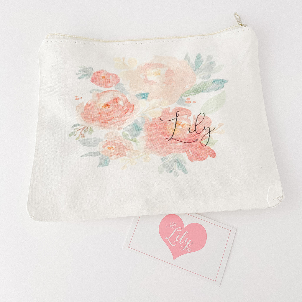 Little Lily Shop Personalized Peach Floral Lux Makeup Bag
