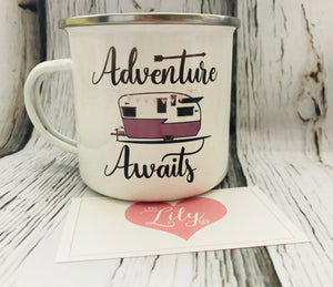 Little Lily Shop Adventure Awaits Enamel 12oz Camping Mug