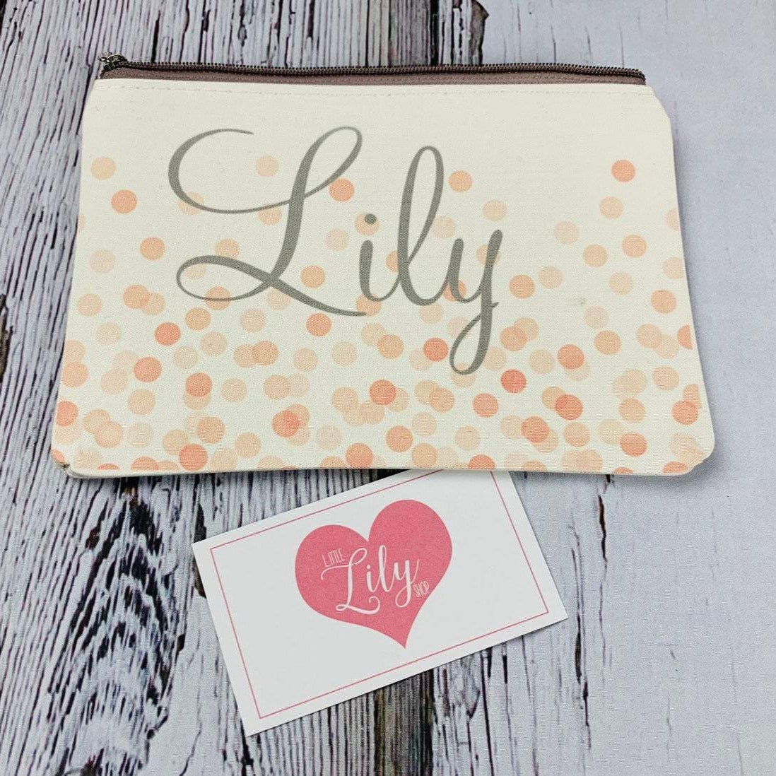 Little Lily Shop Peach Confetti Personalized Makeup Bag