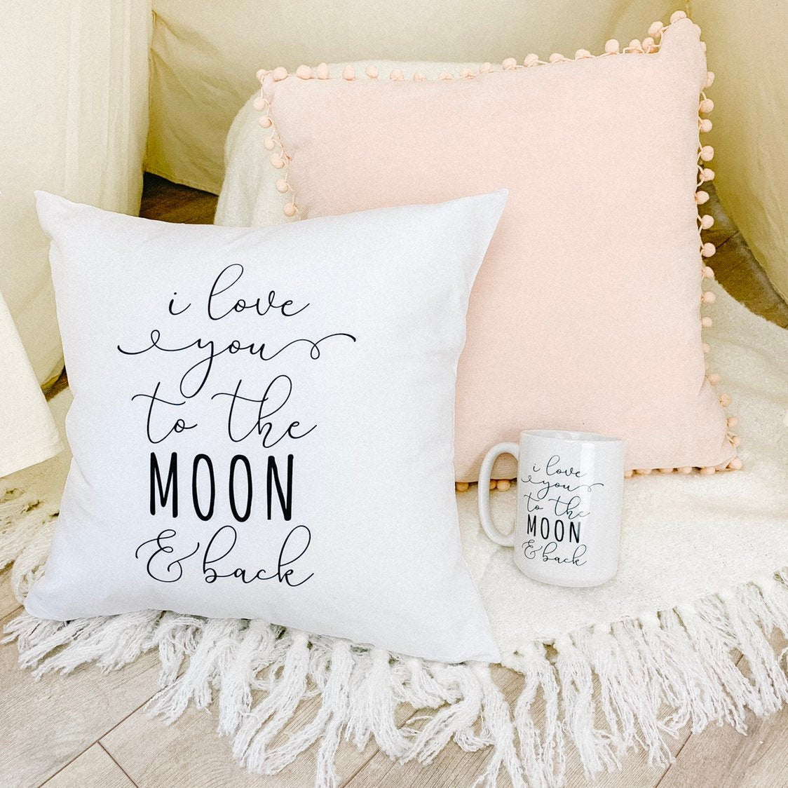I Love You To The Moon and Back Pillow and Coffee Mug Gift Set