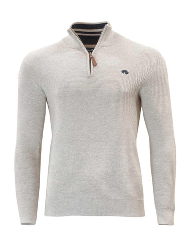 Raging Bull Ribbed Textured Quarter Zip Grey - JR MCMAHON EXCLUSIVE MENSWEAR
