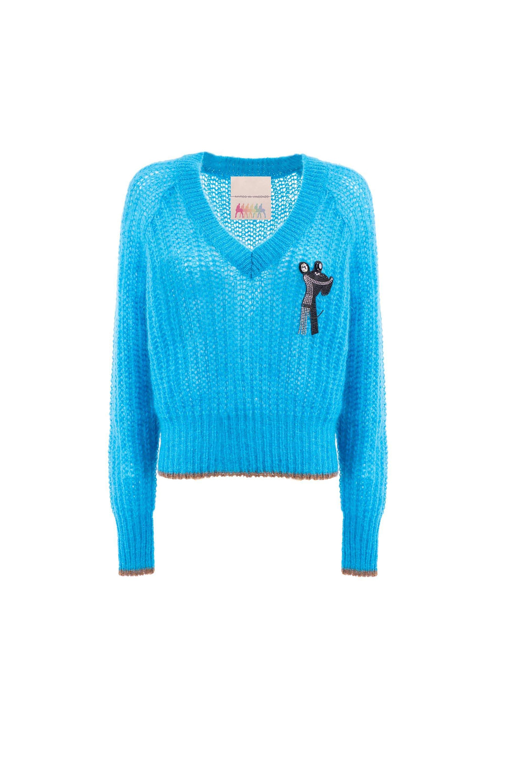 Pullover con patch in strass