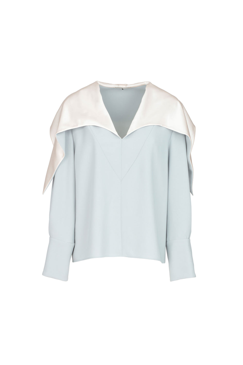 Blusa In Crêpe Con Colletto In Seta