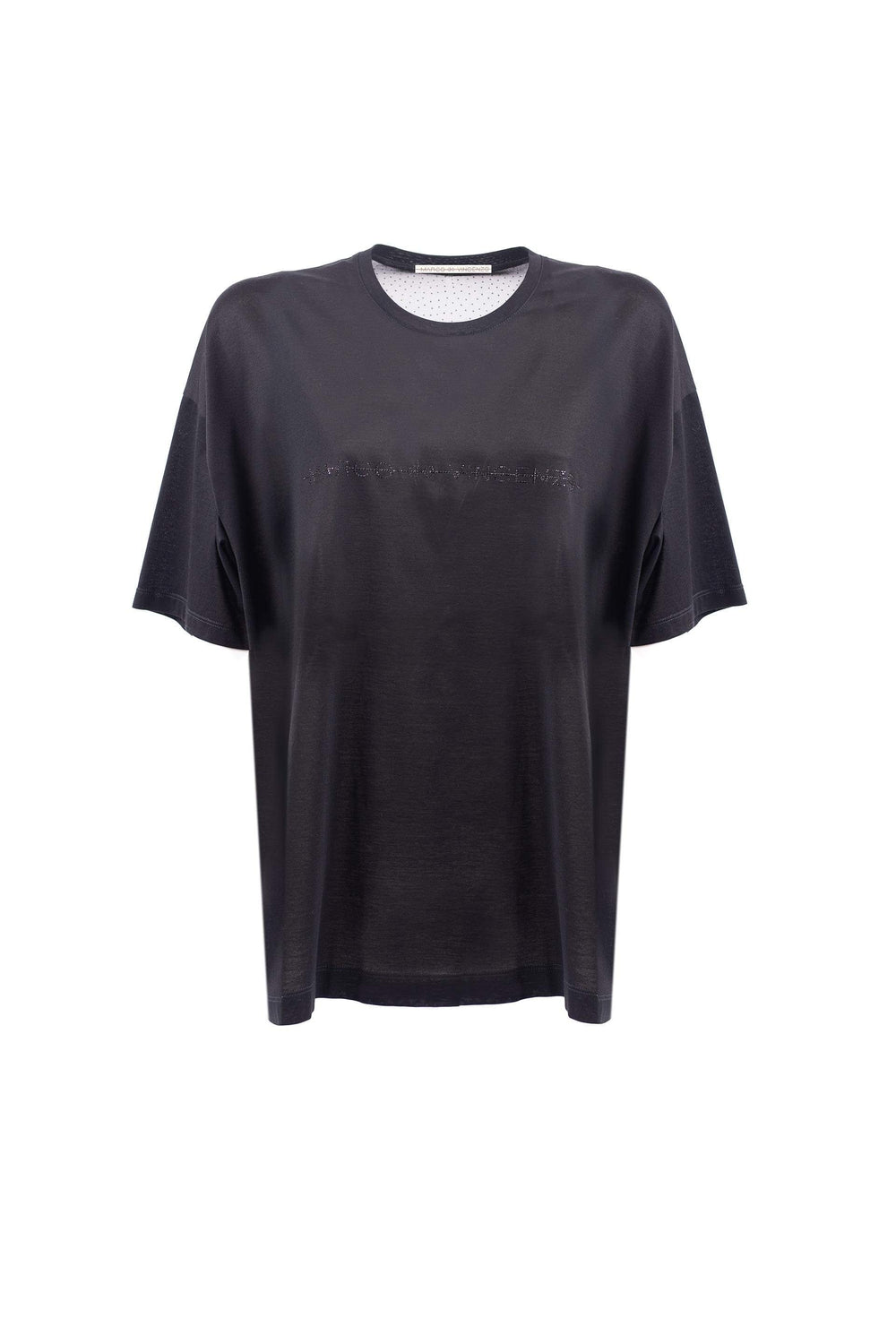 T-shirt over girocollo a maniche corte in jersey con logo frontale in strass.