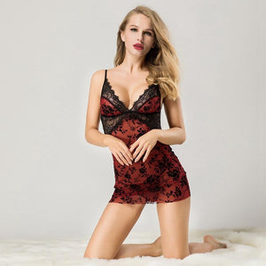 Babydoll Hot Red Black Lingerie | Sexy Lingerie Canada