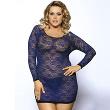 Load image into Gallery viewer, Blue Long Sleeve Plus Size Lingerie for Women | Sexy Lingerie Canada