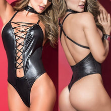 Load image into Gallery viewer, Cross-tied Leather Backless Sleepwear | Sexy Lingerie Canada
