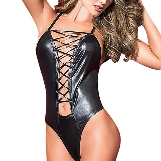 Cross-tied Leather Backless Sleepwear | Sexy Lingerie Canada