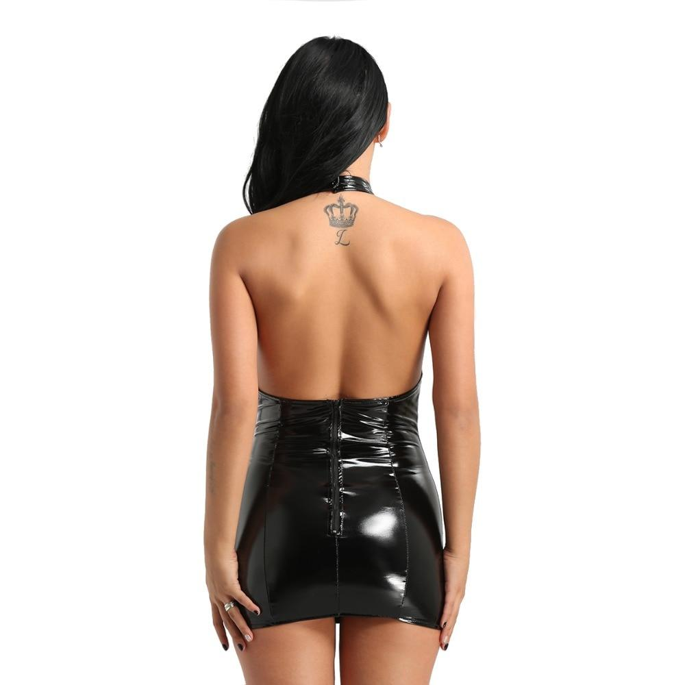 Faux Leather Halter Neck Dress | Sexy Lingerie Canada