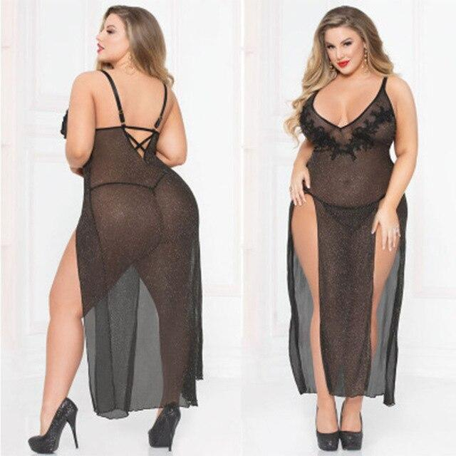 Plus Size Hollow Out Long Nightwear | Sexy Lingerie Canada
