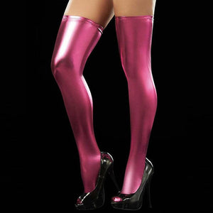 Women Wet Look PU Leather Hold-Ups Thigh High Stockings | Sexy Lingerie Canada