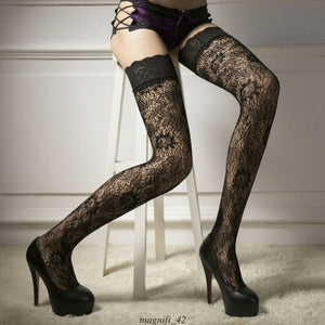 Women Sheer Lace High Hold-Up Stockings | Sexy Lingerie Canada