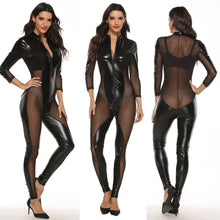 Load image into Gallery viewer, Womens Sexy Lace Splice Leather Lingerie with Zipper | Sexy Lingerie Canada