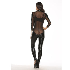 Womens Sexy Lace Splice Leather Lingerie with Zipper | Sexy Lingerie Canada