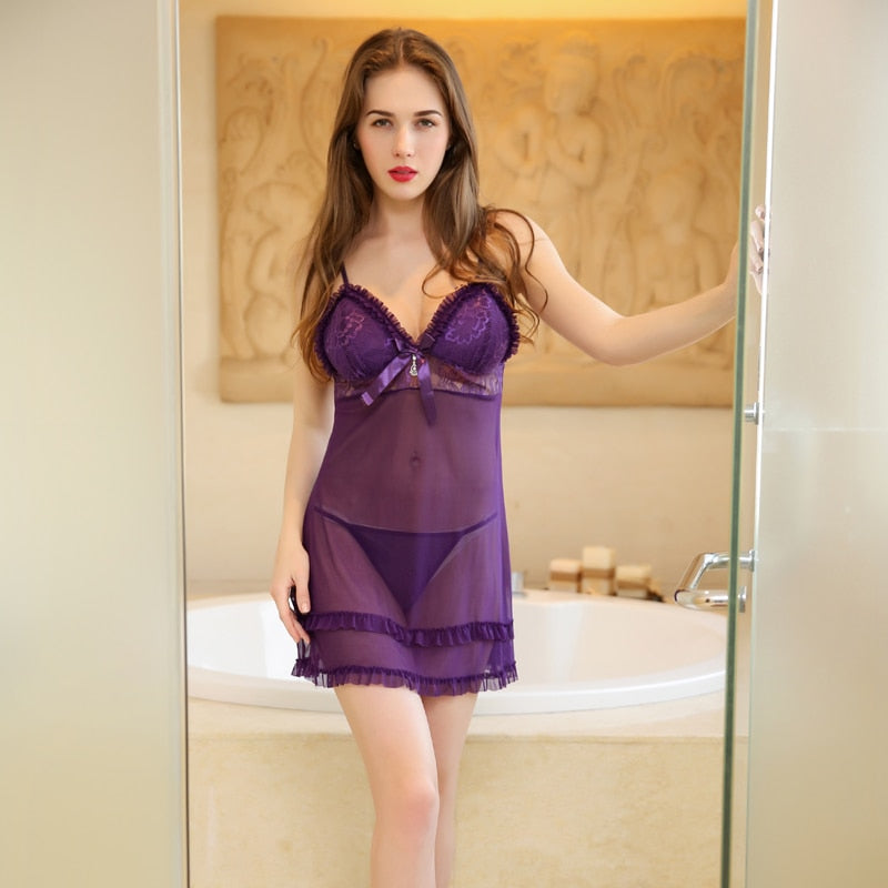 Women Purple Lace Robe Nightgown | Sexy Lingerie Canada