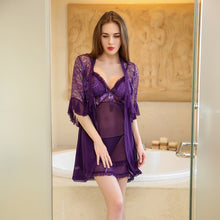Load image into Gallery viewer, Women Purple Lace Robe Nightgown | Sexy Lingerie Canada