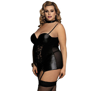 Women's Plus Size Faux-Leather and Lace Garter Slip Lingerie | Sexy Lingerie Canada