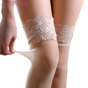 Women Sexy See Through Lace Patchwork Loose Knee Stockings | Sexy Lingerie Canada