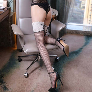 Women Sexy Fishnet Sheer Medias Lace Top Bandage Thigh High Stockings | Sexy Lingerie Canada