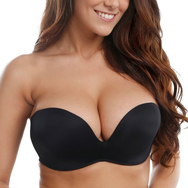 Women Silicone Bands Strapless Lift Bra