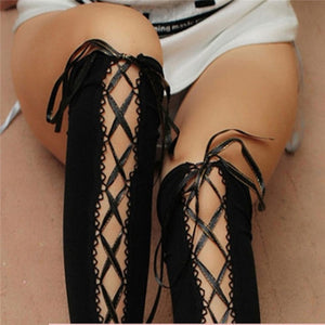 Women Stockings Cross Straps Knee Socks | Sexy Lingerie Canada