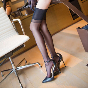 Women Sexy Stockings Over The Knee Lace Cuban Heel Back Seam Stockings | Sexy Lingerie Canada